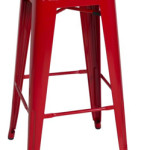 TABOURET METAL ROUGE
